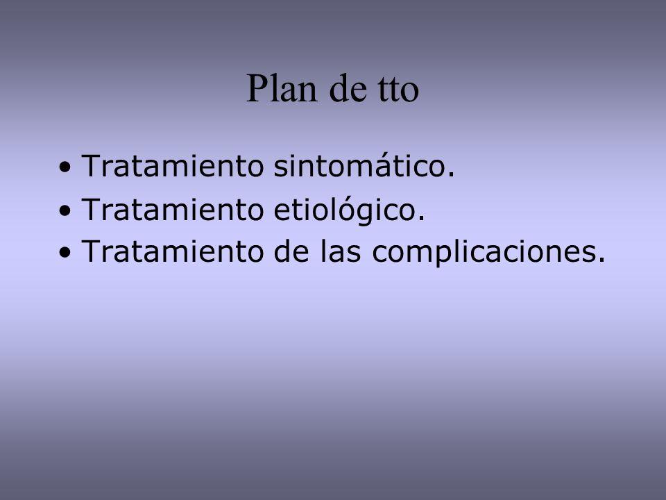 Plan de tto Tratamiento sintomático. Tratamiento etiológico.
