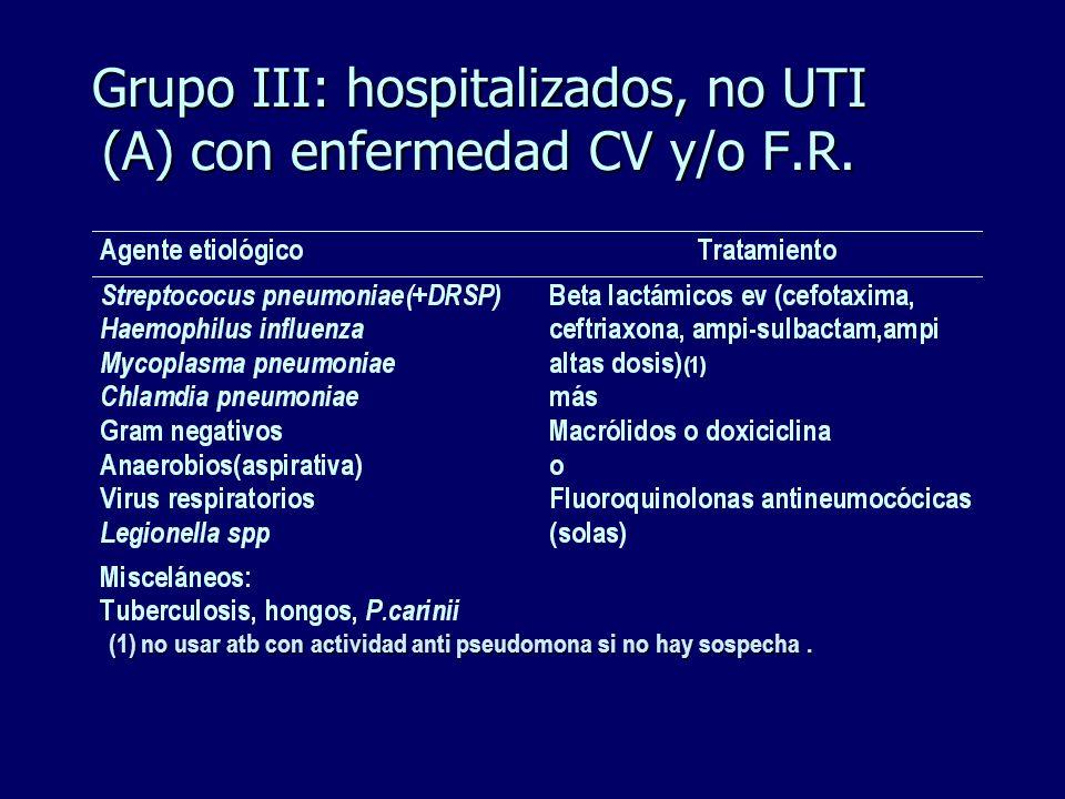 Grupo III: hospitalizados, no UTI (A) con enfermedad CV y/o F.R.