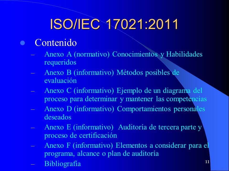 ISO/IEC 17021:2011 Contenido. Anexo A (normativo) Conocimientos y Habilidades requeridos. Anexo B (informativo) Métodos posibles de evaluación.
