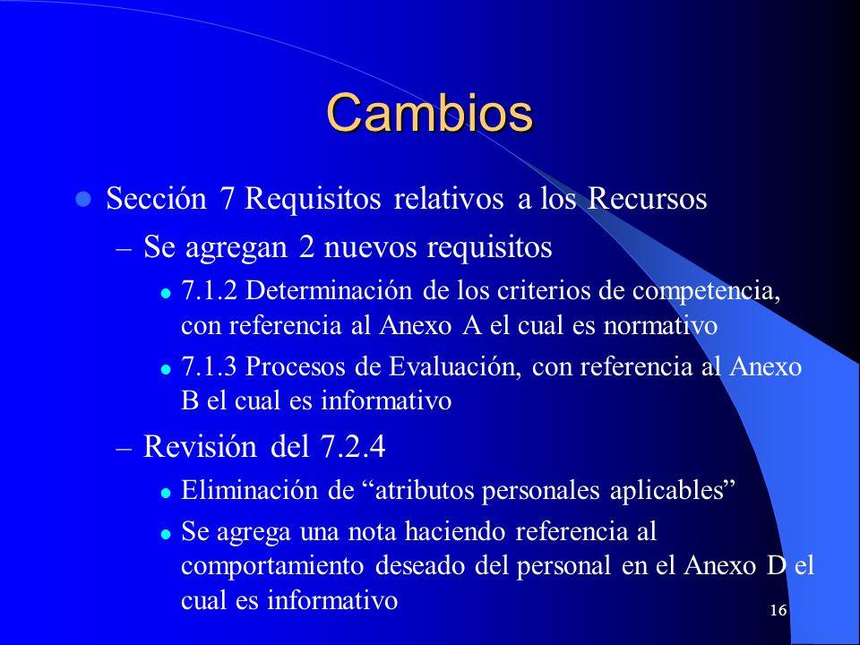 Cambios Sección 7 Requisitos relativos a los Recursos