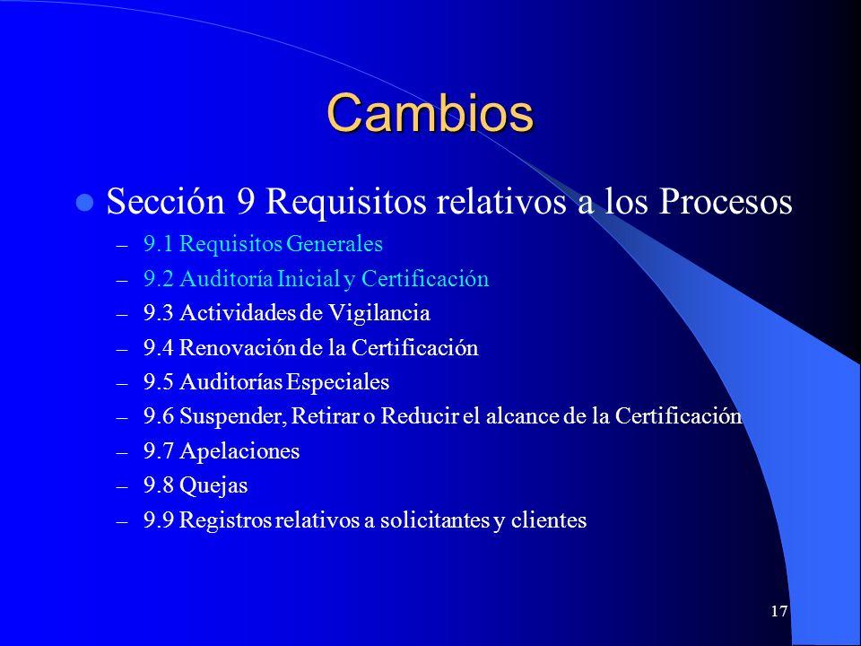 Cambios Sección 9 Requisitos relativos a los Procesos
