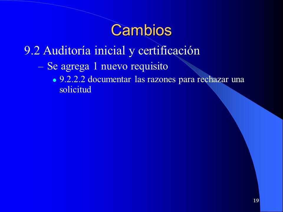 Cambios 9.2 Auditoría inicial y certificación