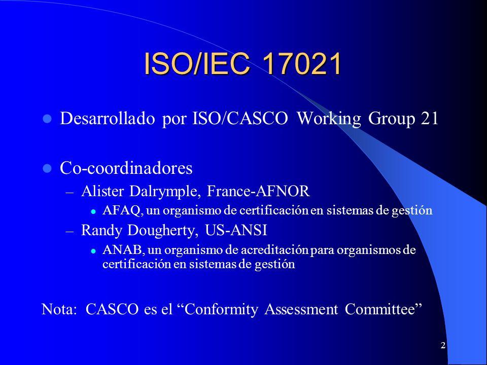 ISO/IEC 17021 Desarrollado por ISO/CASCO Working Group 21