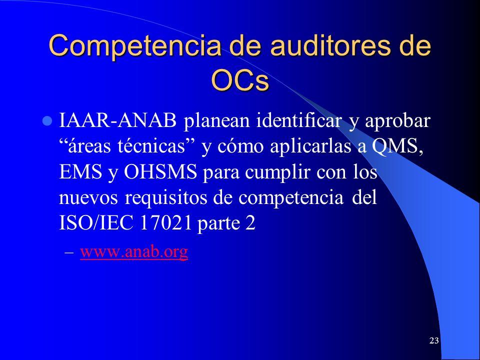 Competencia de auditores de OCs