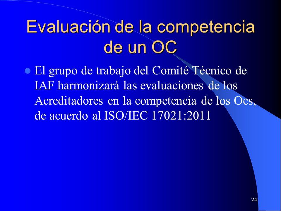 Evaluación de la competencia de un OC