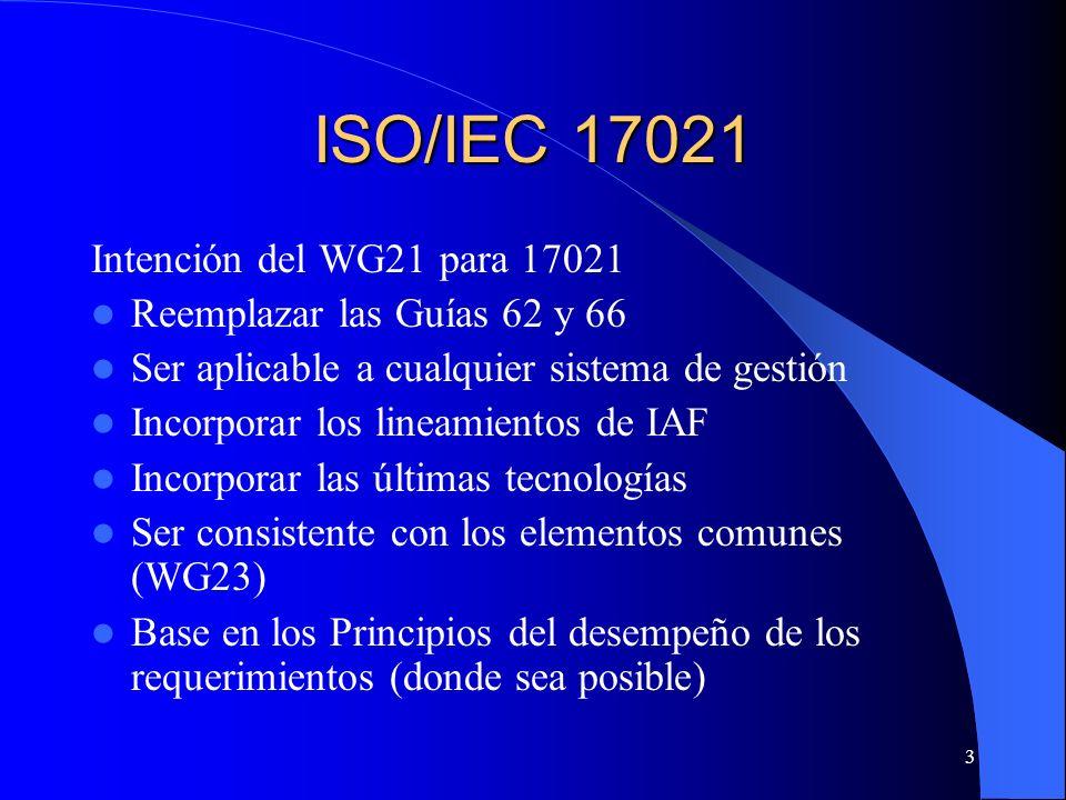 ISO/IEC 17021 Intención del WG21 para 17021