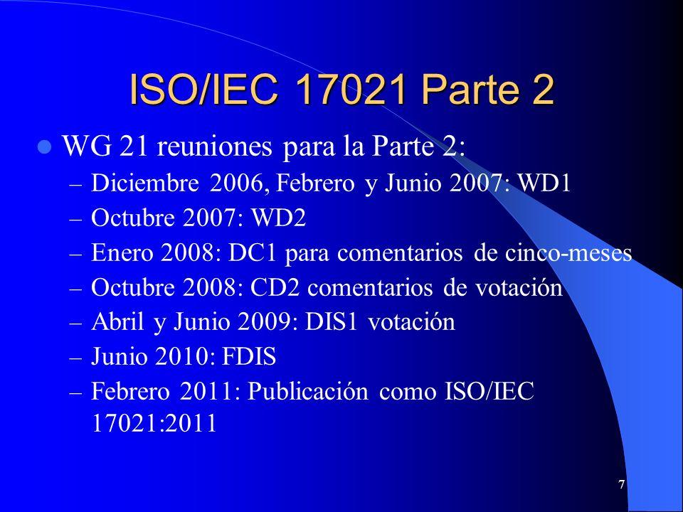 ISO/IEC 17021 Parte 2 WG 21 reuniones para la Parte 2: