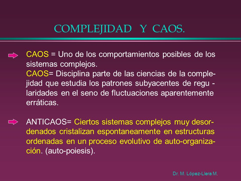 COMPLEJIDAD Y CAOS. CAOS = Uno de los comportamientos posibles de los