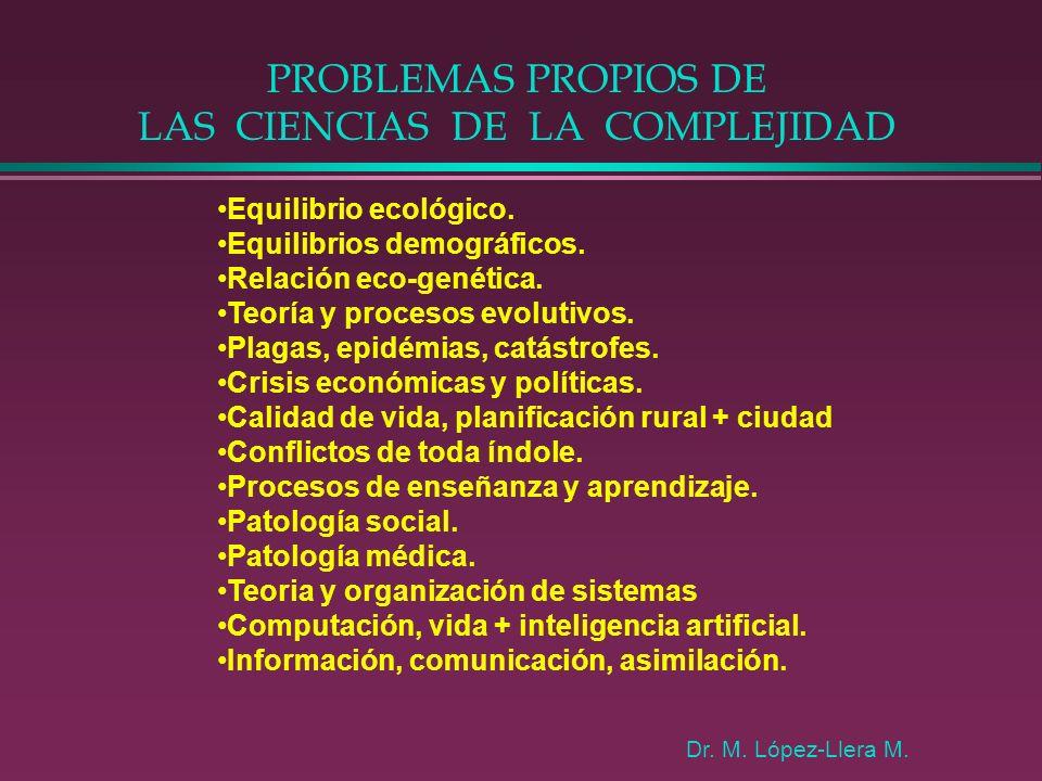 PROBLEMAS PROPIOS DE LAS CIENCIAS DE LA COMPLEJIDAD