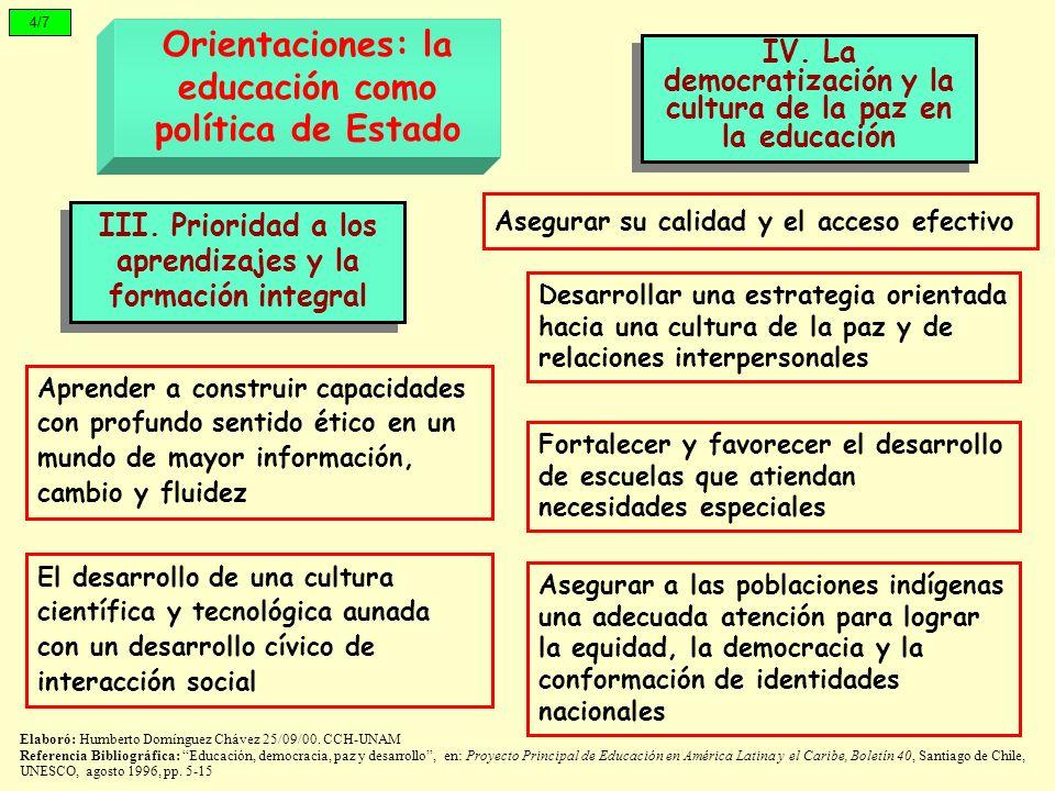 Orientaciones: la educación como política de Estado