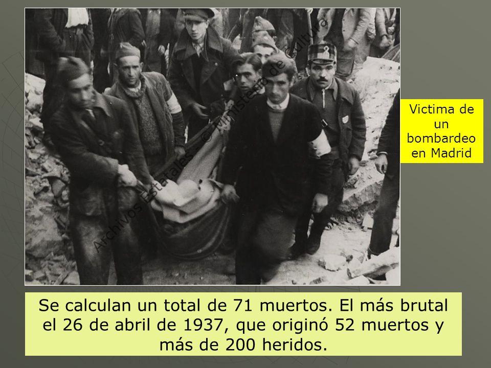 Victima de un bombardeo en Madrid