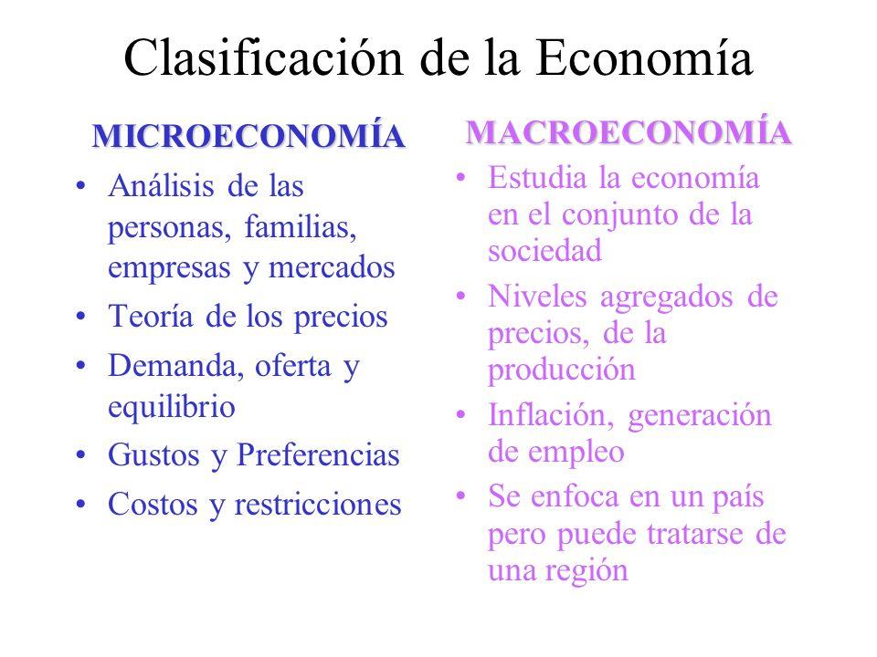 Clasificación de la Economía