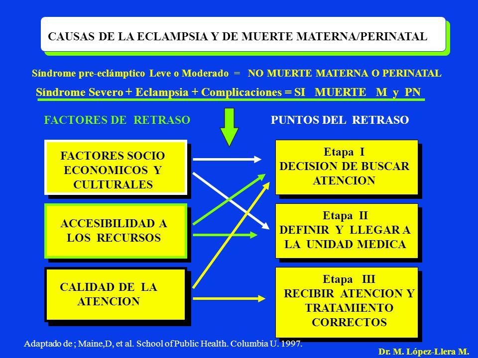 CAUSAS DE LA ECLAMPSIA Y DE MUERTE MATERNA/PERINATAL