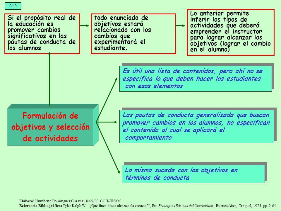 Formulación de objetivos y selección de actividades