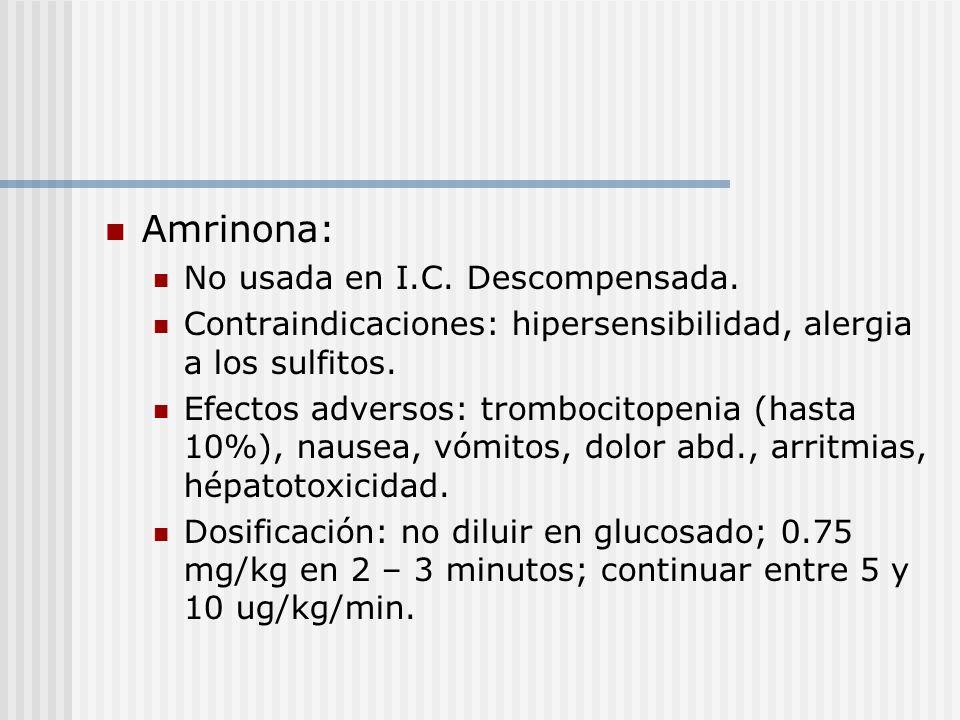 Amrinona: No usada en I.C. Descompensada.