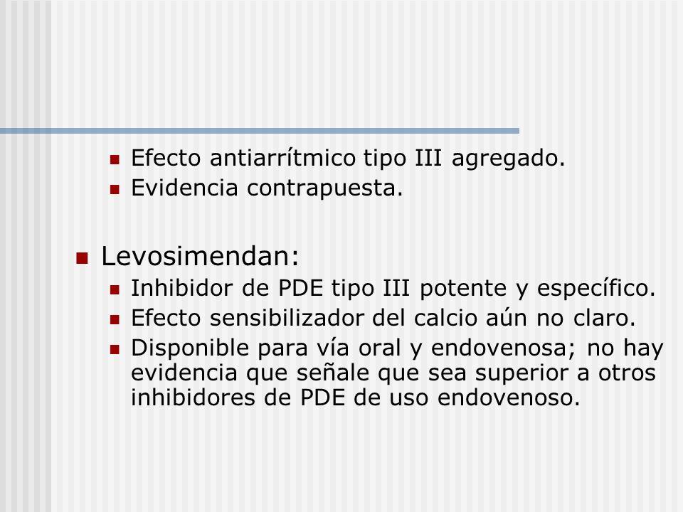 Levosimendan: Efecto antiarrítmico tipo III agregado.