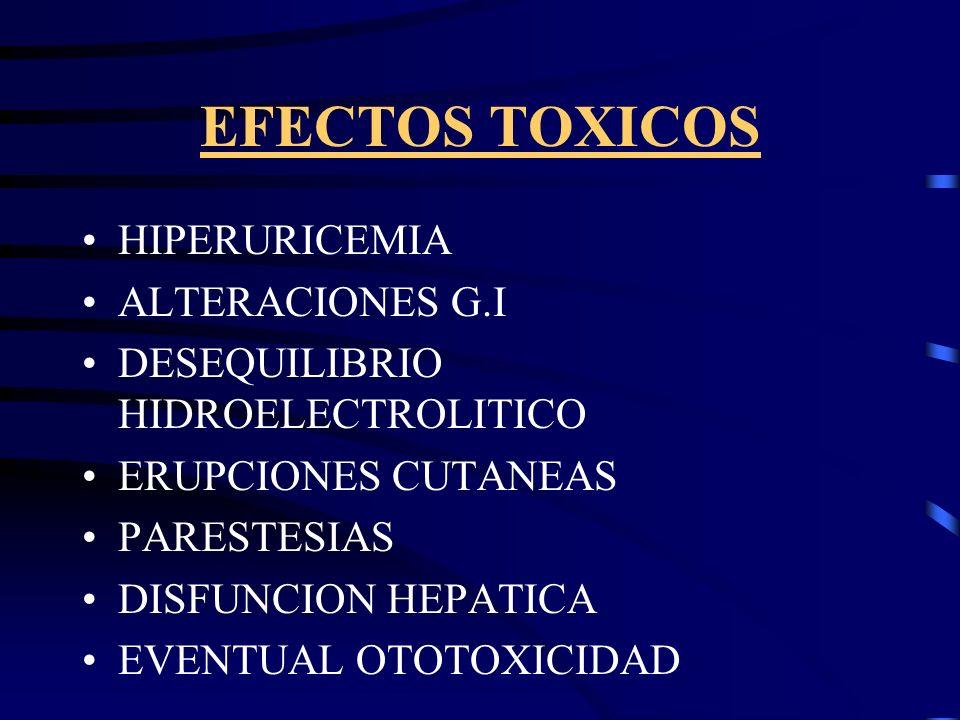 EFECTOS TOXICOS HIPERURICEMIA ALTERACIONES G.I