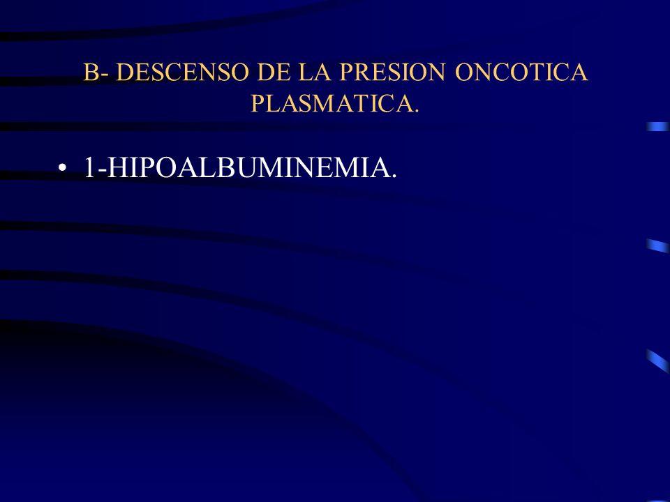B- DESCENSO DE LA PRESION ONCOTICA PLASMATICA.