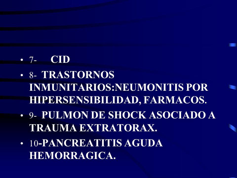 7- CID 8- TRASTORNOS INMUNITARIOS:NEUMONITIS POR HIPERSENSIBILIDAD, FARMACOS. 9- PULMON DE SHOCK ASOCIADO A TRAUMA EXTRATORAX.