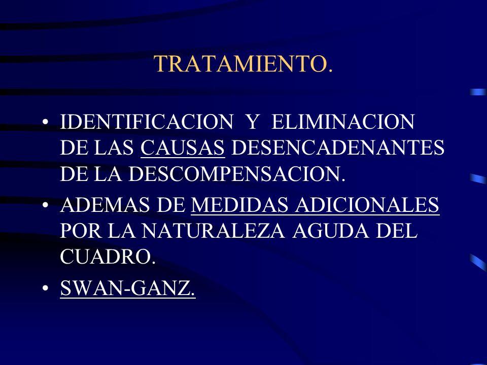 TRATAMIENTO. IDENTIFICACION Y ELIMINACION DE LAS CAUSAS DESENCADENANTES DE LA DESCOMPENSACION.