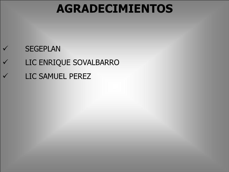 AGRADECIMIENTOS SEGEPLAN LIC ENRIQUE SOVALBARRO LIC SAMUEL PEREZ
