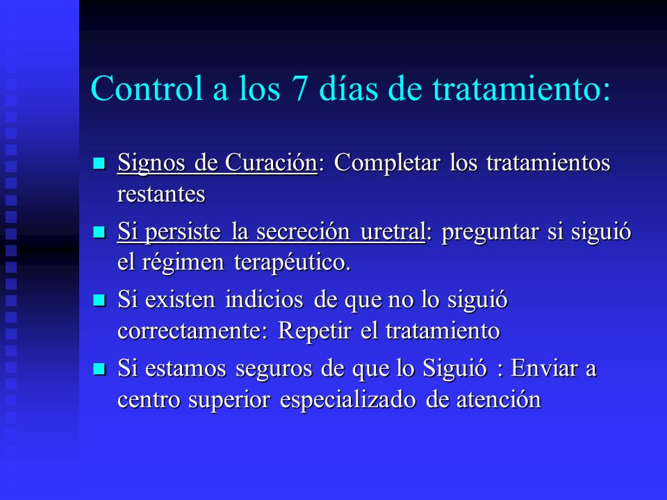 Control a los 7 días de tratamiento: