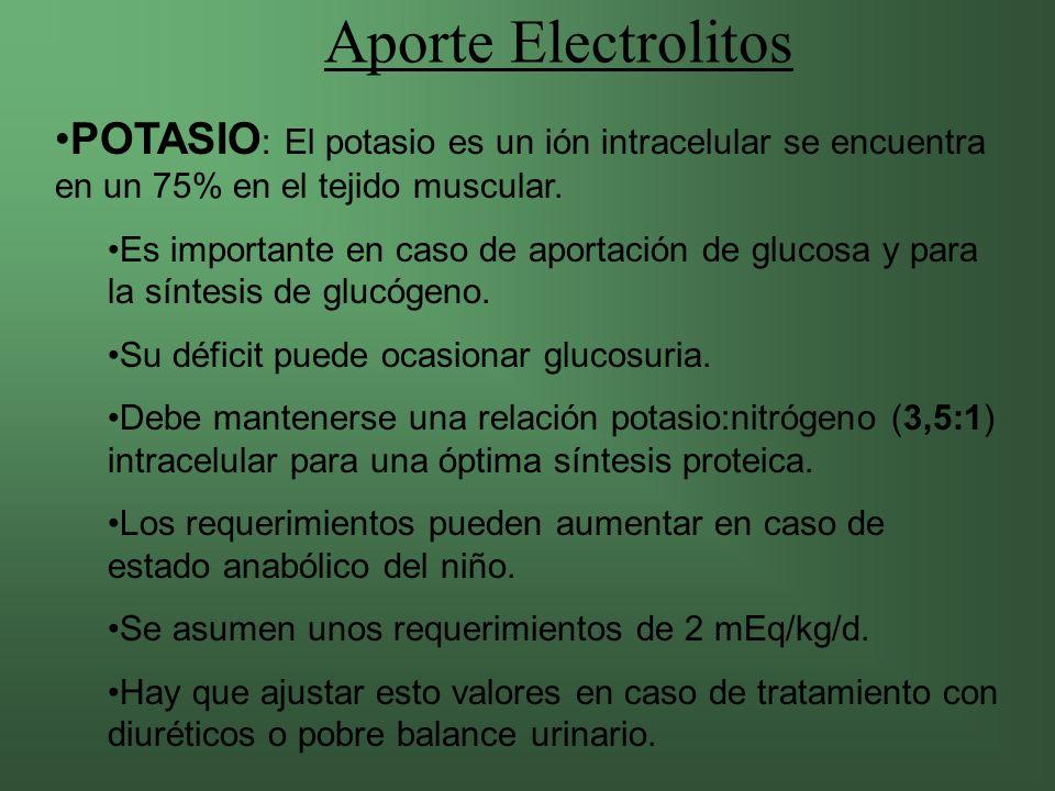 Aporte Electrolitos POTASIO: El potasio es un ión intracelular se encuentra en un 75% en el tejido muscular.