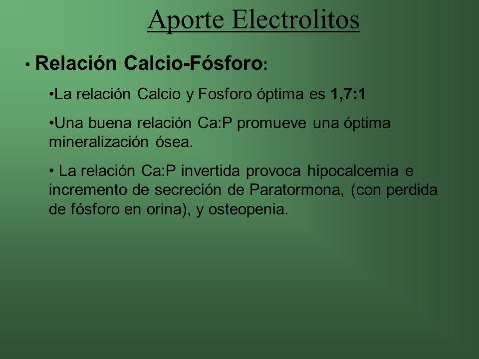 Aporte Electrolitos Relación Calcio-Fósforo:
