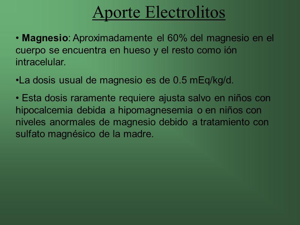 Aporte Electrolitos Magnesio: Aproximadamente el 60% del magnesio en el cuerpo se encuentra en hueso y el resto como ión intracelular.