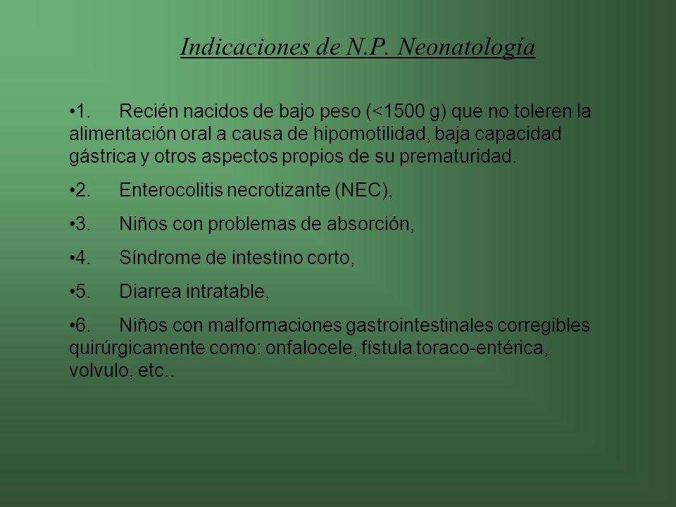 Indicaciones de N.P. Neonatología