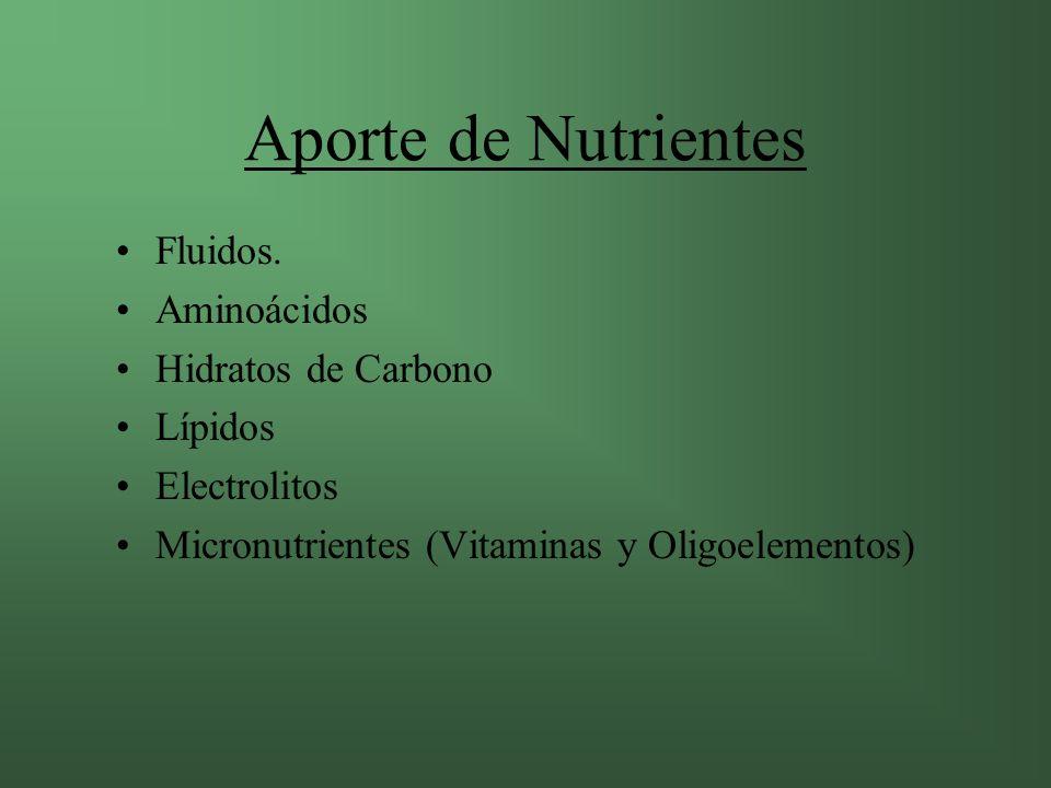 Aporte de Nutrientes Fluidos. Aminoácidos Hidratos de Carbono Lípidos
