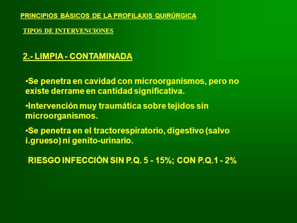 Intervención muy traumática sobre tejidos sin microorganismos.