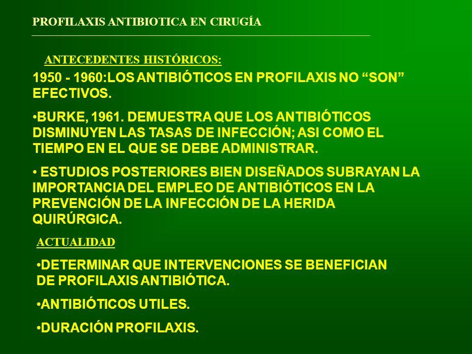 1950 - 1960:LOS ANTIBIÓTICOS EN PROFILAXIS NO SON EFECTIVOS.