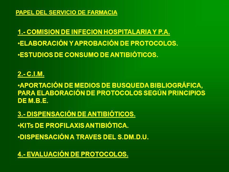 1.- COMISION DE INFECION HOSPITALARIA Y P.A.
