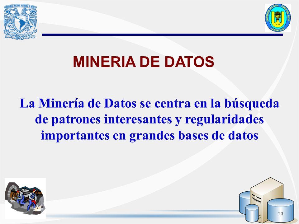 MINERIA DE DATOS La Minería de Datos se centra en la búsqueda de patrones interesantes y regularidades importantes en grandes bases de datos.