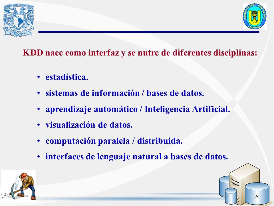 KDD nace como interfaz y se nutre de diferentes disciplinas: