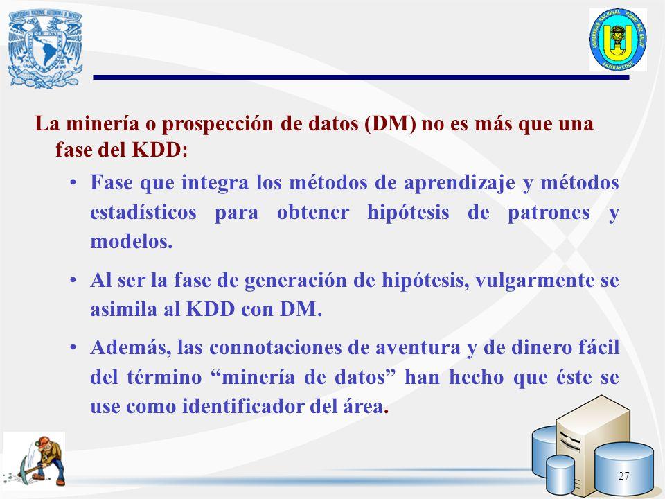 La minería o prospección de datos (DM) no es más que una fase del KDD:
