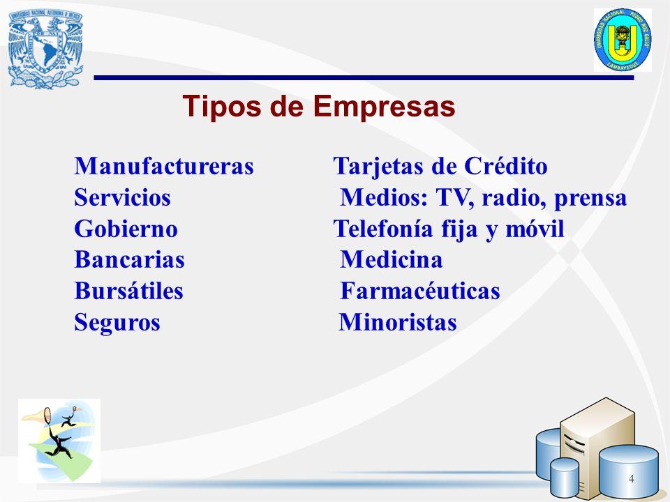 Tipos de Empresas Manufactureras Tarjetas de Crédito