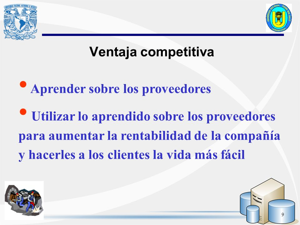 Ventaja competitiva Aprender sobre los proveedores.