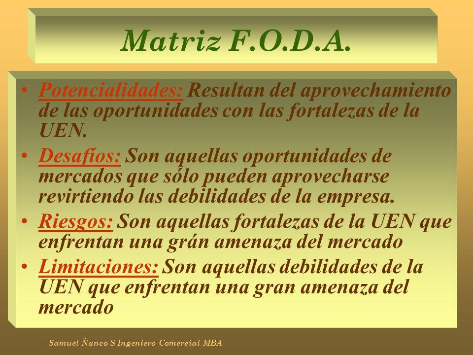 Matriz F.O.D.A. Potencialidades: Resultan del aprovechamiento de las oportunidades con las fortalezas de la UEN.