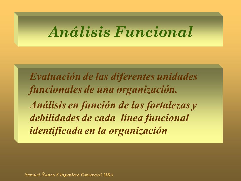 Análisis FuncionalEvaluación de las diferentes unidades funcionales de una organización.