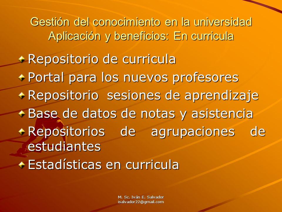 M. Sc. Iván E. Salvador isalvador22@gmail.com