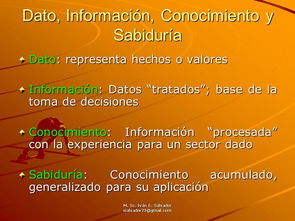 Dato, Información, Conocimiento y Sabiduría