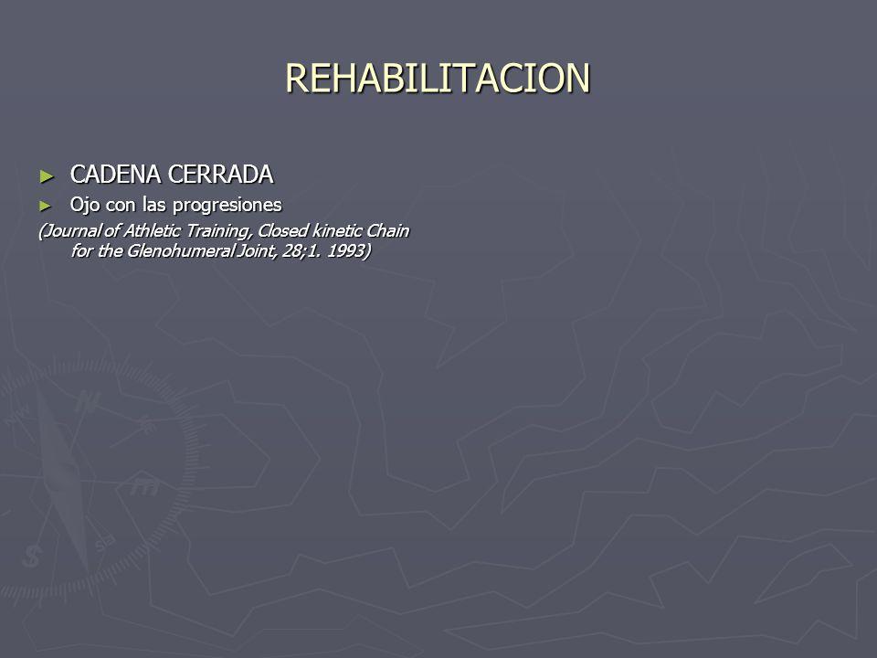 REHABILITACION CADENA CERRADA Ojo con las progresiones