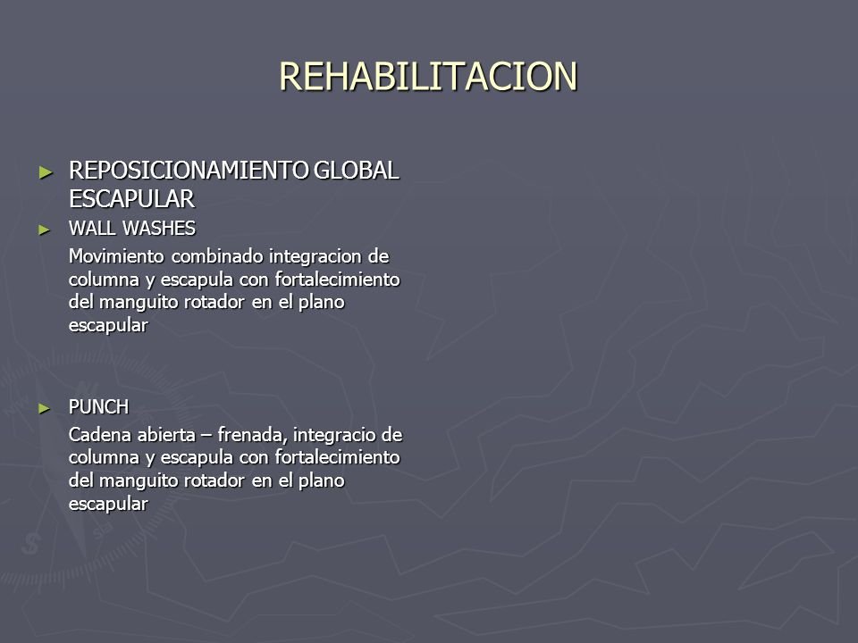 REHABILITACION REPOSICIONAMIENTO GLOBAL ESCAPULAR WALL WASHES
