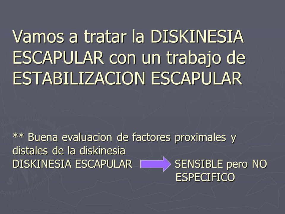 Vamos a tratar la DISKINESIA ESCAPULAR con un trabajo de ESTABILIZACION ESCAPULAR ** Buena evaluacion de factores proximales y distales de la diskinesia DISKINESIA ESCAPULAR SENSIBLE pero NO ESPECIFICO