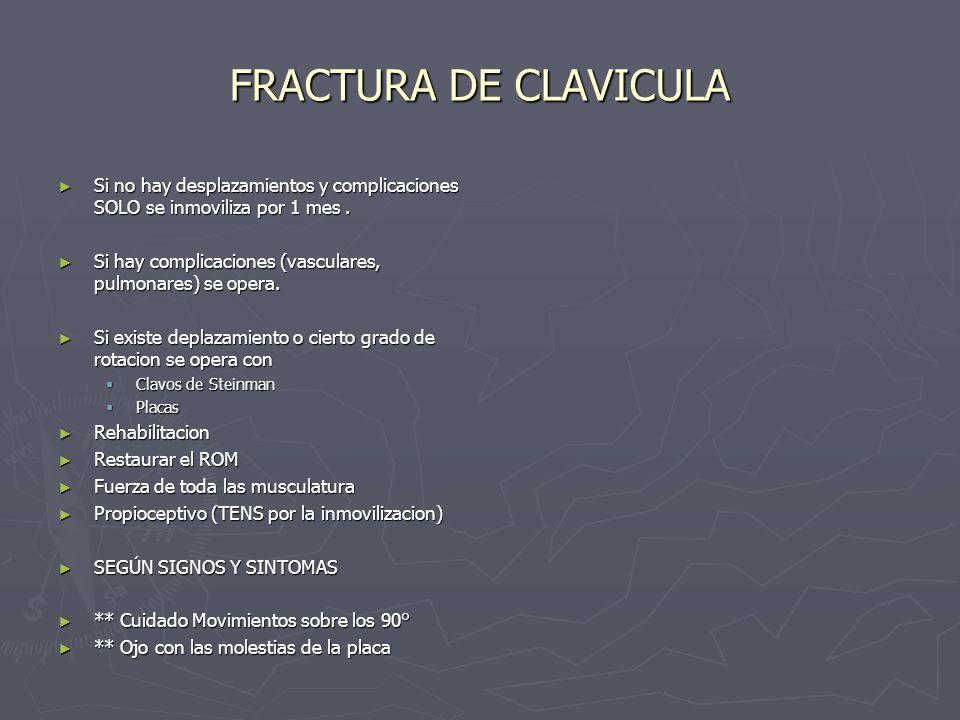 FRACTURA DE CLAVICULASi no hay desplazamientos y complicaciones SOLO se inmoviliza por 1 mes .