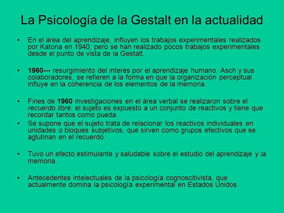 La Psicología de la Gestalt en la actualidad