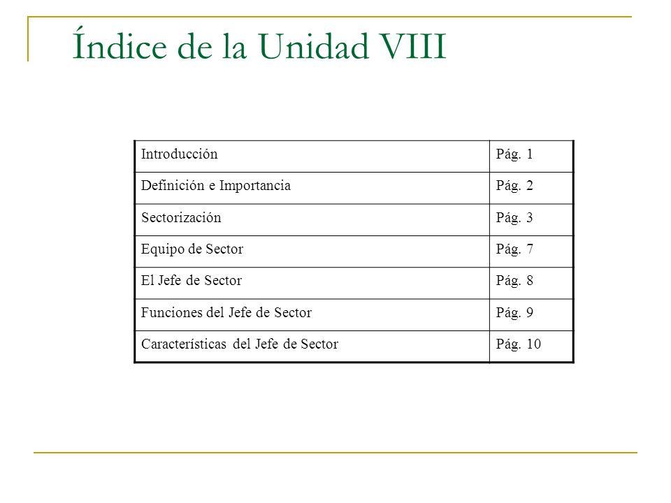 Índice de la Unidad VIII