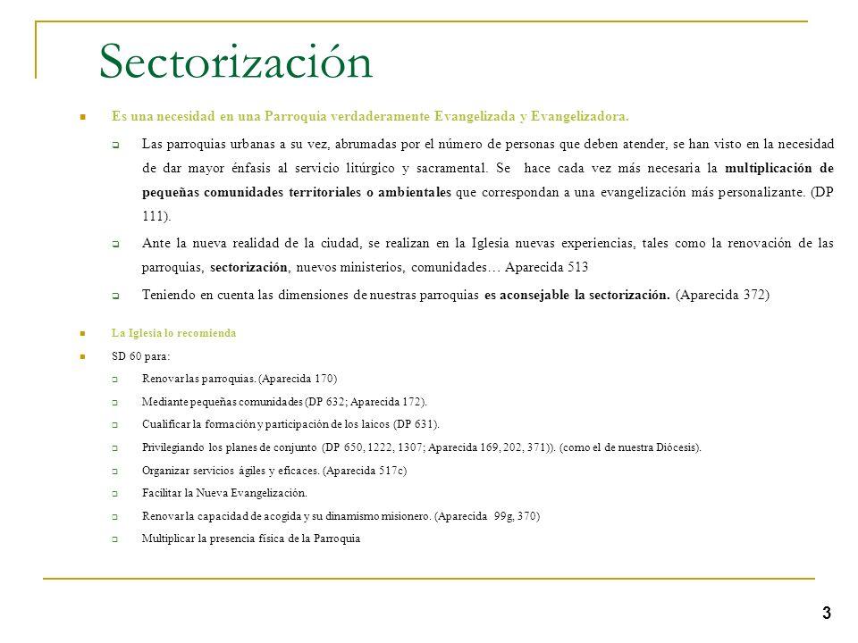 Sectorización Es una necesidad en una Parroquia verdaderamente Evangelizada y Evangelizadora.